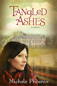 book cover of Tangled Ashes by Michele Phoenix shows a scarf clad woman with a chateaux in the background